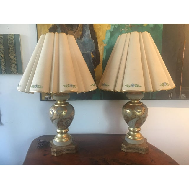 Mid-Century Hollywood Regency Gilt Lamps - A pair - Image 2 of 11