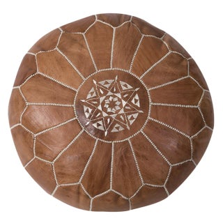 Moroccan Embroidered Tan Leather Pouf