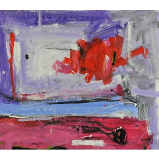 Blue & Magenta Stripes, Abstract Painting
