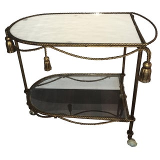 Italian Gold Faux-Rope Bar Cart