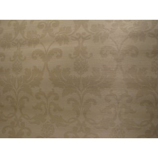 "Schumacher ""Beau Damasse"" Ivory Color Grasscloth Wallpaper"