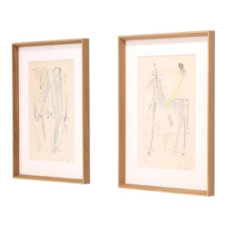 Salvador Dali Original Signed Lithographs with Applied Gold, Archival Framing