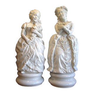 White Glazed Life-Size Girl Figures - A Pair