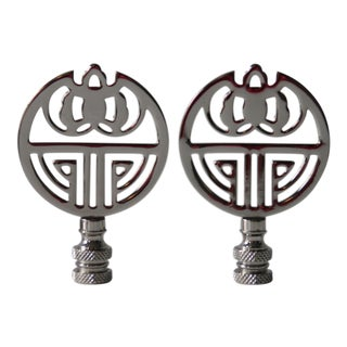 Chrome Art Deco-Style Finials - A Pair