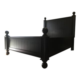 Black Provincial Pine Collection Full/Double Sized Bed With Matching Desk