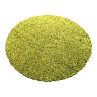 Round Lime Green 100% Wool Long Pile Rug - 10′ × 10′