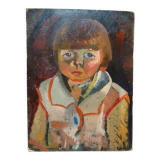 "Anders Aldrin Painting, ""Portrait of Girl with Bangs"""