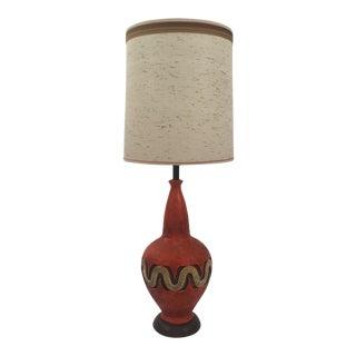 Mid-Century Hand Made Ceramic Orange Lamp