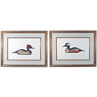 Arthur Nevis Pair of Prints of Hooded Merganser Drake and Hen Duck Decoys