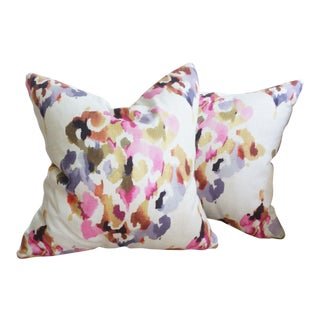 Abstract Watercolor Style Print Linen Pillow Covers - A Pair