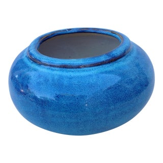 Blue Stoneware Pottery Vessel