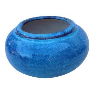 Blue Stoneware Pottery Vessel