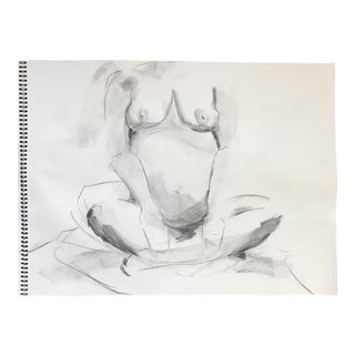 Seated Pregnant Nude Drawing