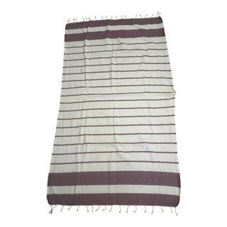 Turkish Burgundy Striped Bath Towel