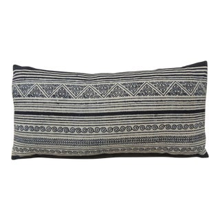 Vintage Indigo & White Hand-Blocked Batik Lumbar Decorative Pillow.