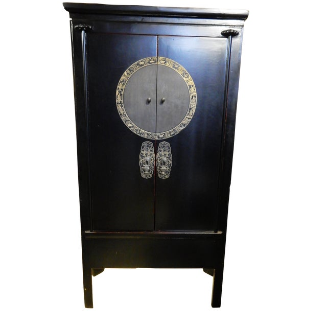 Black Lacquer Corner Armoire - Image 1 of 10