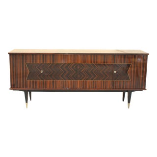 Beautiful French Art Deco Exotic Macassar Ebony Zig Zag Sideboard / Buffet / Bar, circa 1940s
