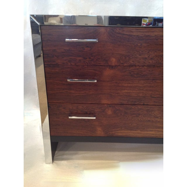 Milo Baughman-Style Rosewood & Chrome Dresser - Image 3 of 10
