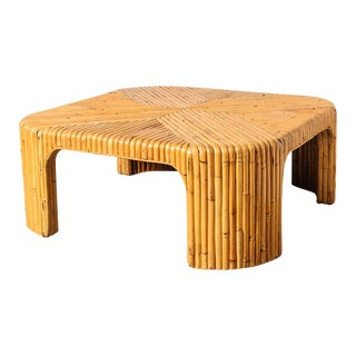 C.1970 Waterfall Bamboo Coffee Table
