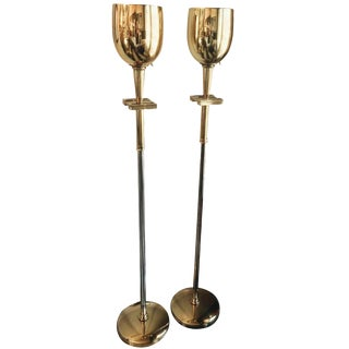 Tommy Parzinger Brass Torchieres - A Pair