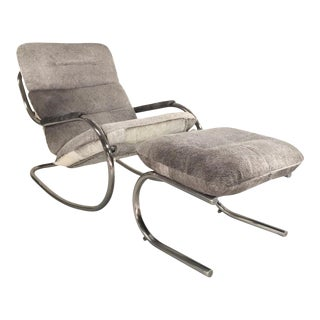 Forsyth One of a Kind Design Institute of America Rocker and Ottoman in Brazilian Cowhide