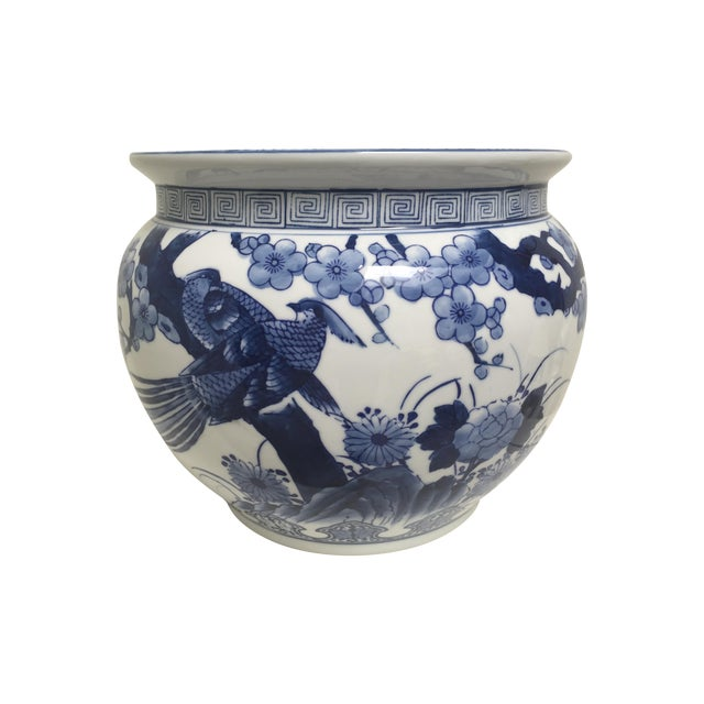 Blue and White Oriental Style Porcelain Planter - Image 1 of 5
