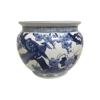 Blue and White Oriental Style Porcelain Planter
