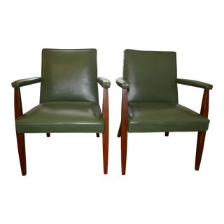 Mid Century Avocado Green Club Chairs - A Pair
