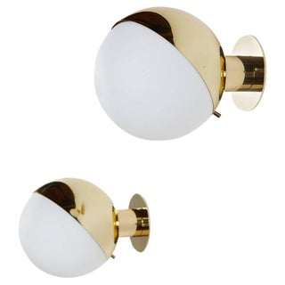 Pair of Brass and Opaline Glass Sconces by Stilnovo