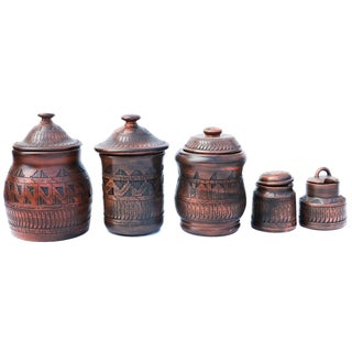 Navajo-Style Pottery Canisters - Set of 5
