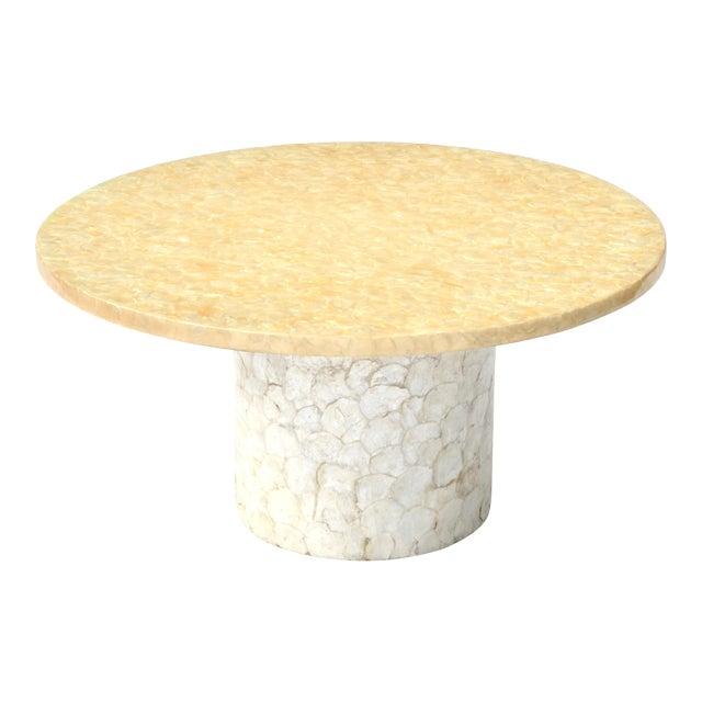 Round White Capiz Coffee Table: Hollywood Regency Capiz Shell Coffee Table