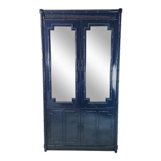 Navy Lacquered Faux Bamboo Cabinet