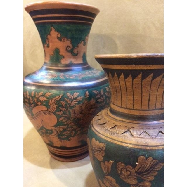 Image of Mid-Century Urns with Deco Motif - A Pair