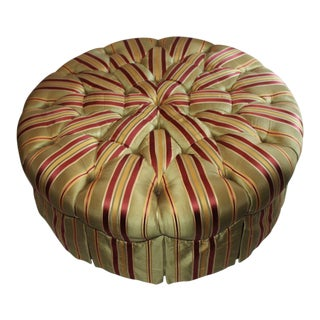 Henredon Round Tufted Striped Silk Ottoman