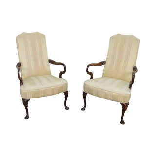 Quality Pair of Solid Mahogany Queen Anne Lolling Arm Chairs