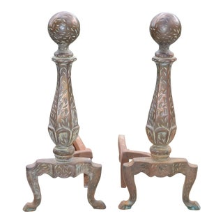 Antique Fireplace Andirons - A Pair