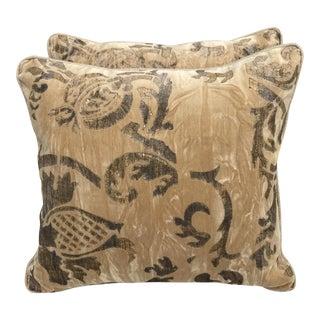 Gold Nomi Stenciled Pillows - A Pair