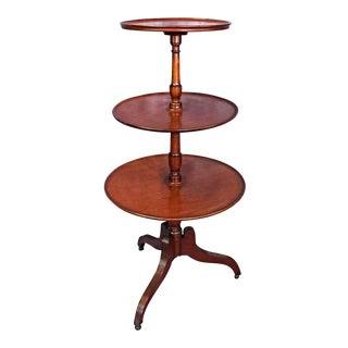 Antique Sheraton Style 3 Tier Mahogany Dumbwaiter Tea Table