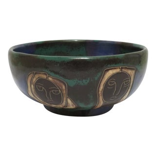 Decorative Green Ceramic Bowl with Faces