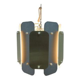 Mid-Century Brass Aluminum Barrel Chandelier