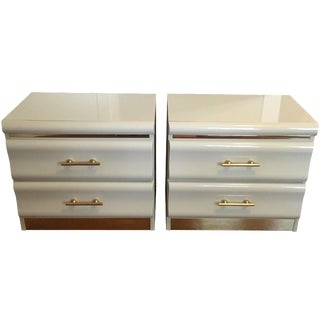 80s Lacquer Off White And Gold End Tables - Pair