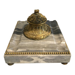 Antique Italian Onyx and Brass Inkwell