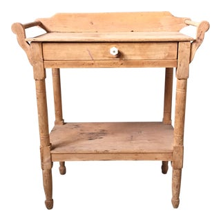 Antique Pine & Milk Glass Washstand
