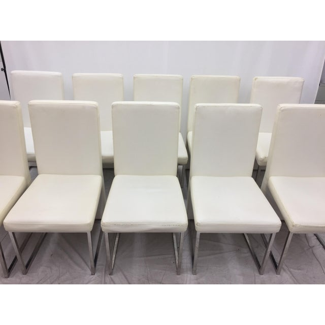 Modern White Vinyl Amp Chrome Dining Chairs Set Of 10