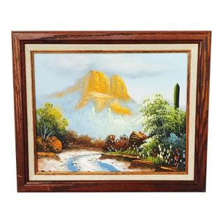 Vintage Southwestern Landscape Oil Painting