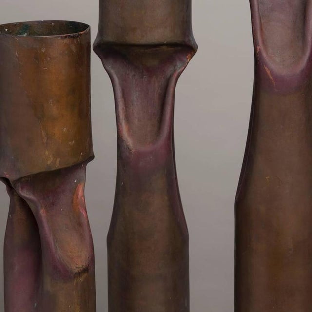 Image of Set of Three Oversized Brutalist Copper Vases, Stamped