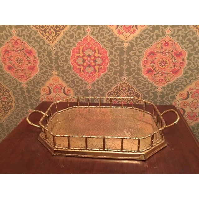 Hollywood Regency Bamboo Brass Tray - Image 2 of 5