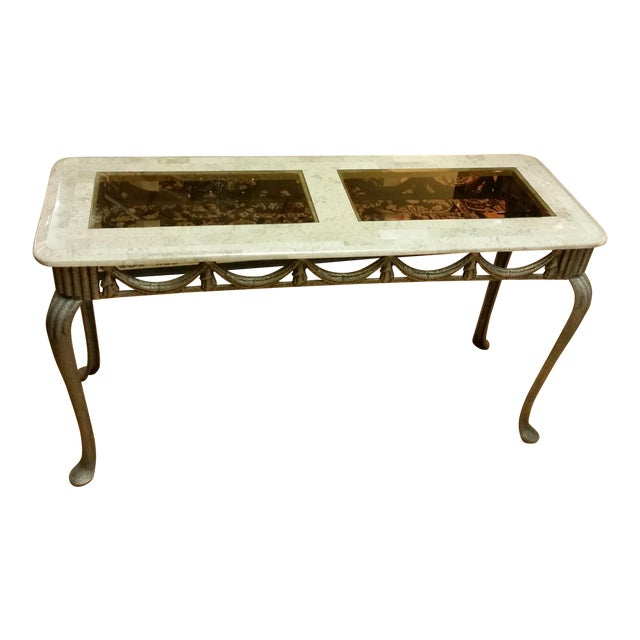 Tesselated Stone & Cast Iron Console Table - Image 1 of 6