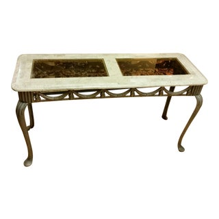 Tesselated Stone & Cast Iron Console Table