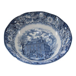 Staffordshire Liberty Blue Transfer Ware Serving Bowl